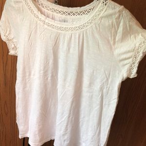 White Loft Tee with Lace Trim
